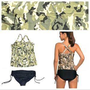 Tankini Bikini Swimsuit Green Camo Green Black L